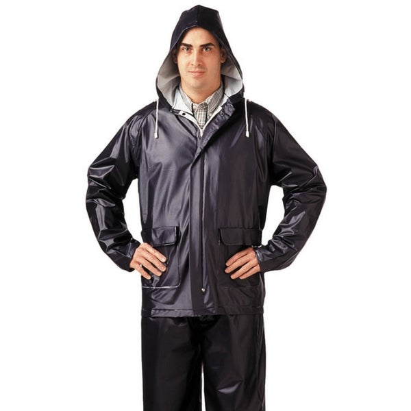 TUFF-ENUFF PLUS S62211 0.25mm Double Ply PVC Jacket Zip Snap Fly Front Pants, Navy