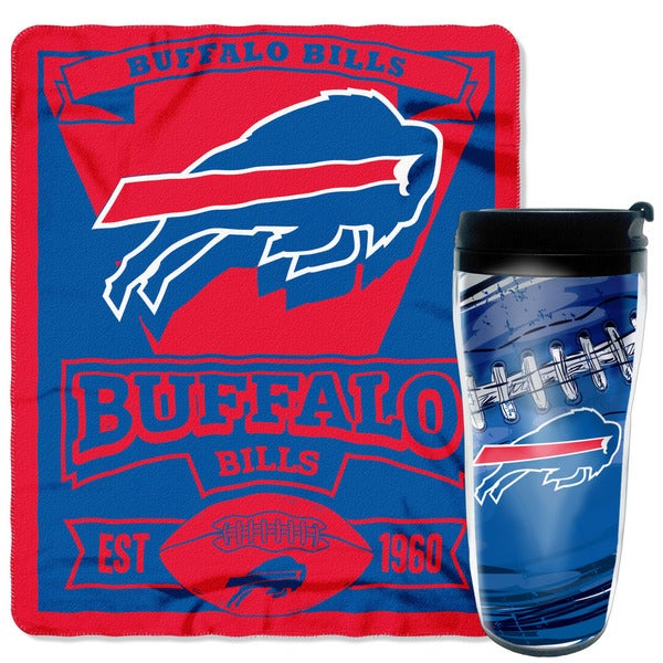 NFL Bills Mug 'n Snug Blue/Red Travel Mug and Fleece Throw Set