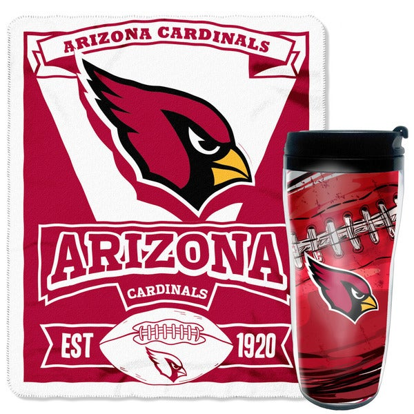 NFL Cardinals Mug N' Sung 50-inches x 60-inches Fleece Throw and 16-ounces Tumbler Set