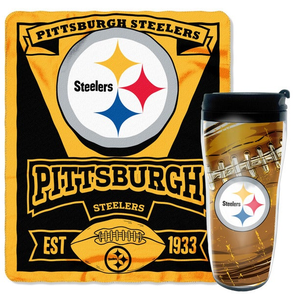 NFL Steelers Mug N' Snug 50-inches x 60-inches Fleece Throw and 16-ounces Tumbler Set 19689251