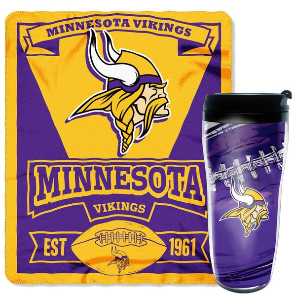 Officially Licensed NFL Vikings Mug-N-Snug Throw Set