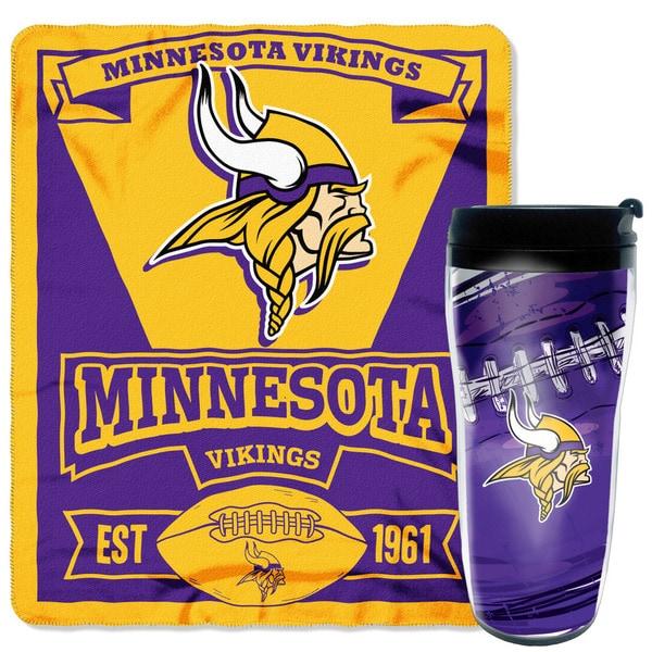Officially Licensed NFL Vikings Mug-N-Snug Throw Set
