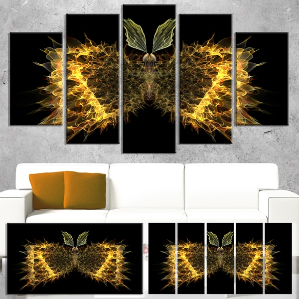 Golden Fractal Butterfly in Dark - Large Abstract Art Canvas Print