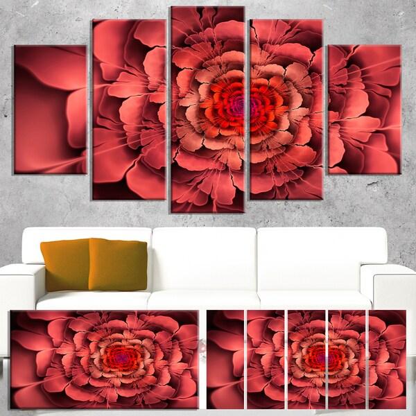 Dense Fractal Pink Petals - Floral Large Abstract Art Canvas Print