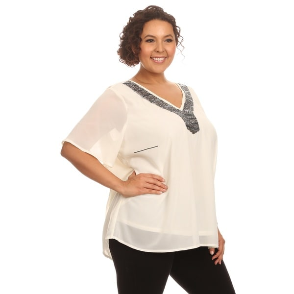 Hadari Women Short Sleeve V-Neck Top