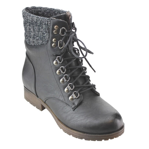 Refresh AD21 Black/Tan/Taupe Faux-leather Women's Lace Up Sweater Collar Ankle Combat Booties