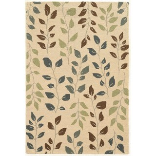 Vines and Leaves Beige/Green Rug (5' x 7'9)