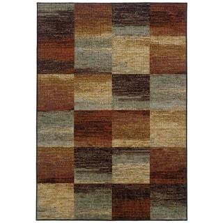 Aged Blocks Brown/Orange Rug (5'3 X 7'6)