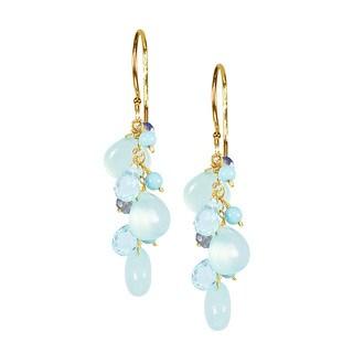 14k Yellow Gold Triple Gemstone Earrings