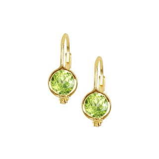 14k Yellow Gold Round Peridot Faceted Hoop Earrings