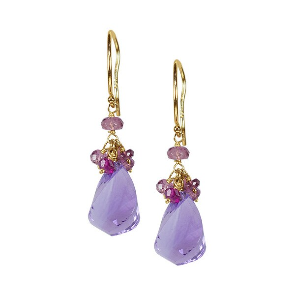 14k Yellow Gold Pink Tourmaline Amethyst Earrings