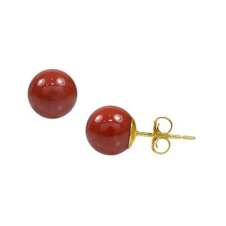 14k Yellow Gold Natural Red Coral Ear Stud Earrings