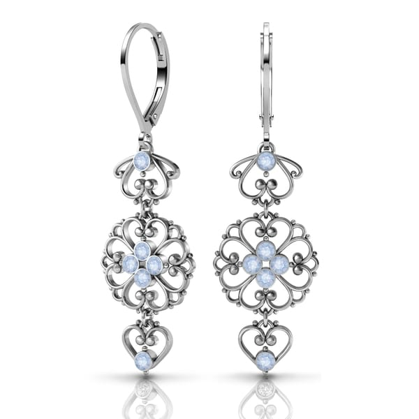 Sterling Silver Earrings by Lucia Costin Swarovski Element Crystals 19695492