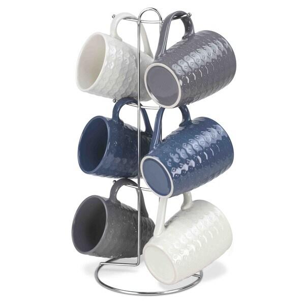 Home Basics 6-piece Mug Set With Mug Tree (Assorted Designs) 19695618