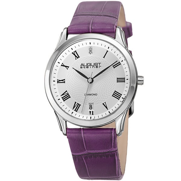 August Steiner Women's Quartz Diamond Easy-to-Read Leather Purple Strap Watch