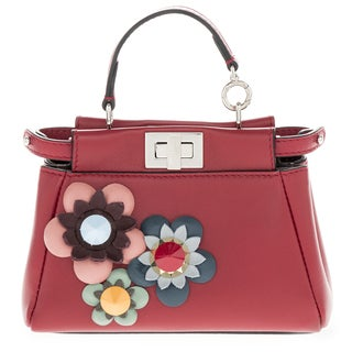 Fendi Micro 'Peekaboo' Floral Embellished Red Leather Satchel