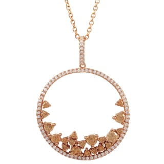 Rose Gold Finish Sterling Silver Champagne Cubic Zirconia Circle Pendant Necklace