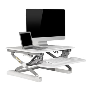 FlexiSpot M1W 27-inch Height-Adjustable Standing White Desk Riser with Wide Keyboard Tray