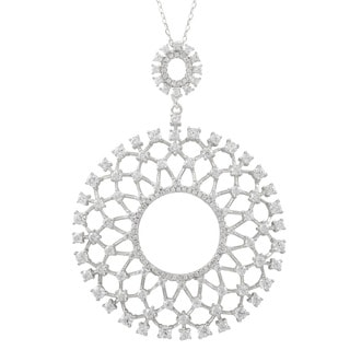 Sterling Silver Cubic Zirconia Ornate Circle Pendant Necklace