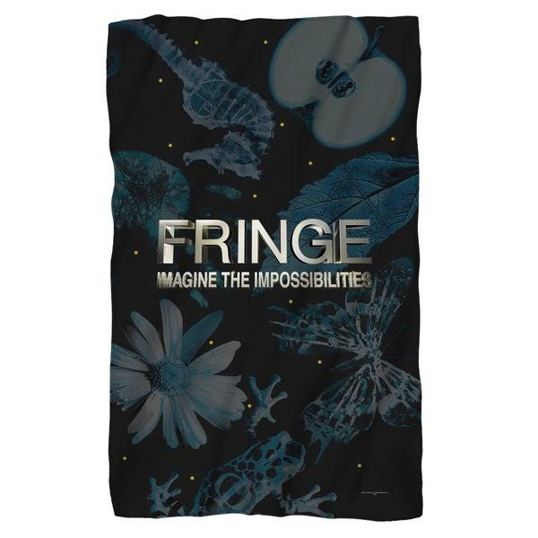 Fringe/Logo Fleece Blanket in White