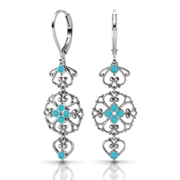 Sterling Silver Earrings by Lucia Costin Turquoise Swarovski Crystals 19697265