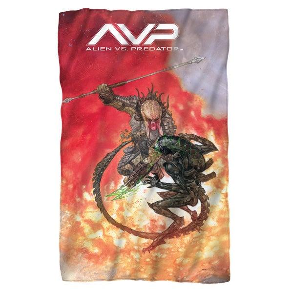 Alien Vs Predator/Brutal Battle Fleece Blanket in White