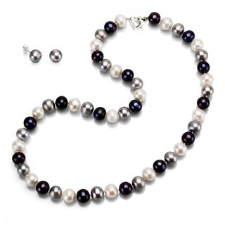 DaVonna Sterling Silver 10-11mm Dark Multi Freshwater Pearls Necklace with Heart Clasp and Stud Earrings Set