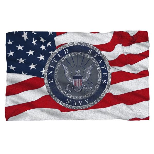 Navy/Flag Seal Fleece Blanket in White