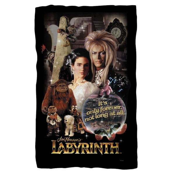 Labyrinth/Only Forever Fleece Blanket in White