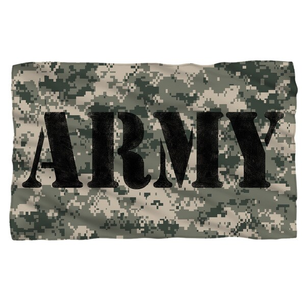 Army/Camo Fleece Blanket in White