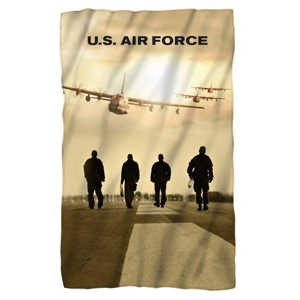 Air Force/Long Walk Fleece Blanket in White 19698075