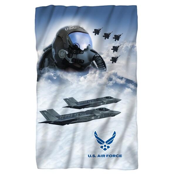 Air Force/Pilot Fleece Blanket in White 19698095