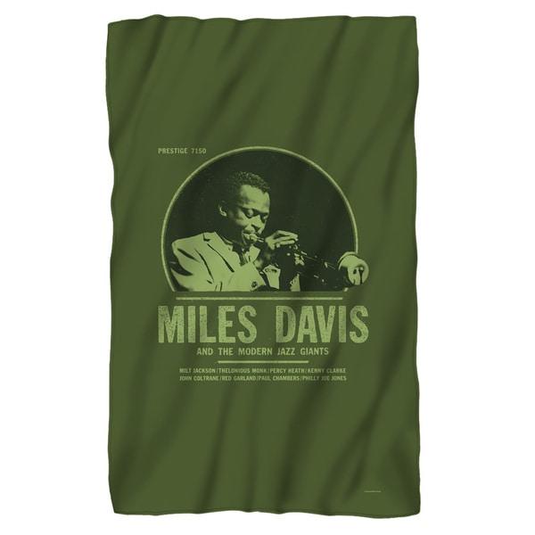 Miles Davis/Green Miles Fleece Blanket in White