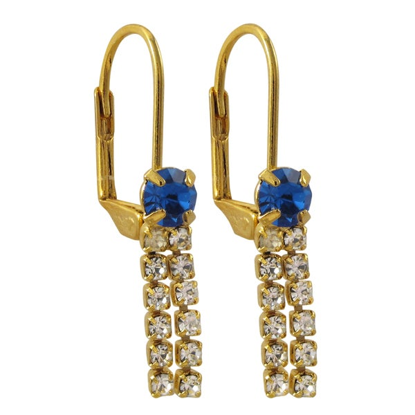 Gold or Rhodium Finish Blue and White Crystals Tassel Earrings