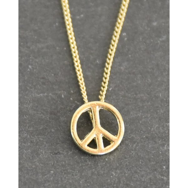 Mint Jules 18k Gold Overlay Peace Sign Layering Necklace