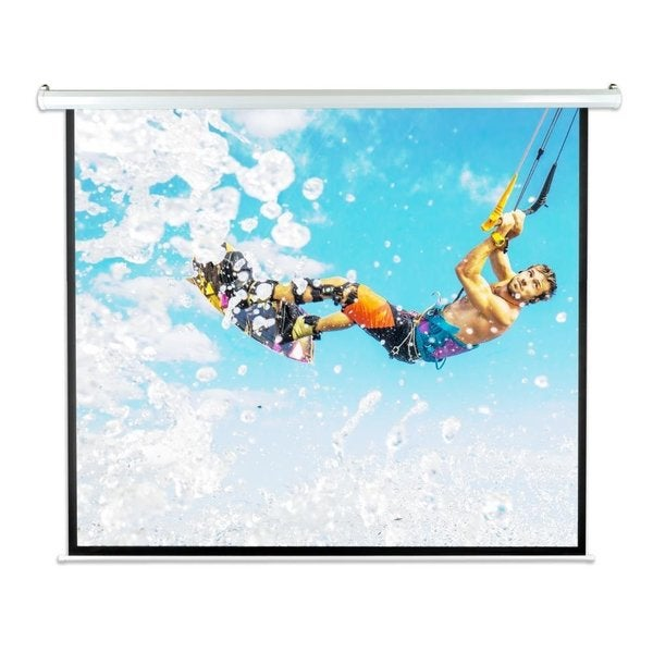 Pyle PRJELMT86 84-inch Motorized Projector Screen with Electronic Automatic Projection Display and Remote Control