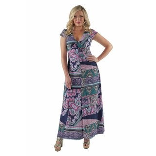24/7 comfort Apparel Women's Plus Size Abstract Paisley Maxi Dress