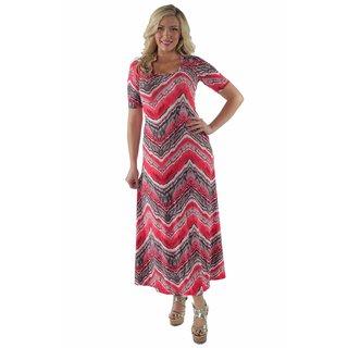 24/7 Comfort Apparel Women's Red Grey Zig Zag Maxi Plus Size Dress