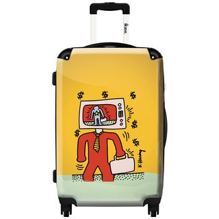 iKase 'Keith Haring TV Businessman' 24-inch Multicolored Polycarbonate Hardside Spinner Suitcase