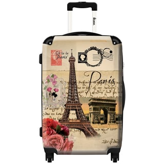 IKase 'Eiffel Tower Stamped' 24-inch Fashion Hardside Spinner Suitcase