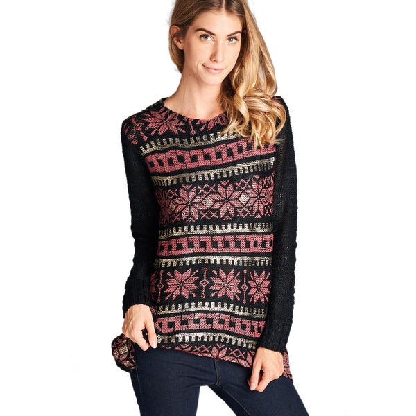 Orange Creek Foil Print Long-Sleeved Sweater