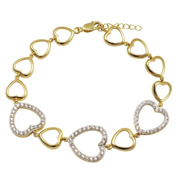 Two-tone Sterling Silver Pave Cubic Zirconia Heart Bracelet