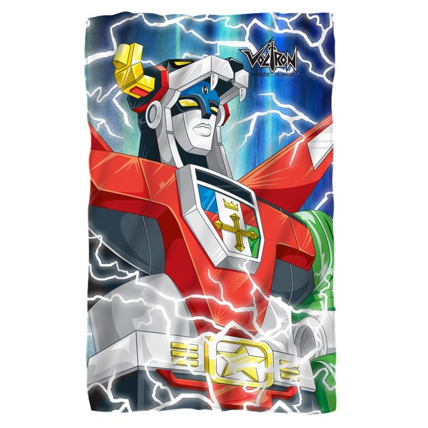 Voltron/Lightning Combine Fleece Blanket in White