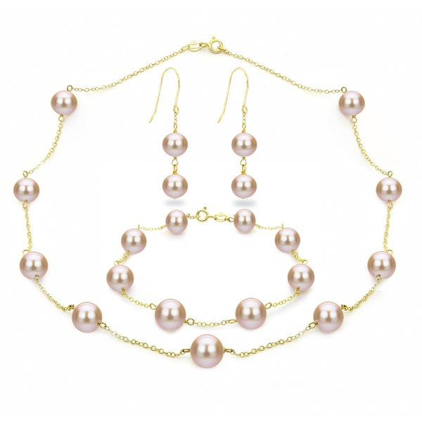 DaVonna 18k Gold over Silver Pink Freshwater Pearl Necklace Bracelet and Hoop Dangle Earring Set
