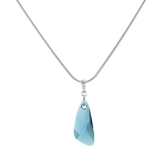 Jewelry by Dawn Aquamarine Swarovski Crystal Wing Sterling Silver Snake Chain Necklace