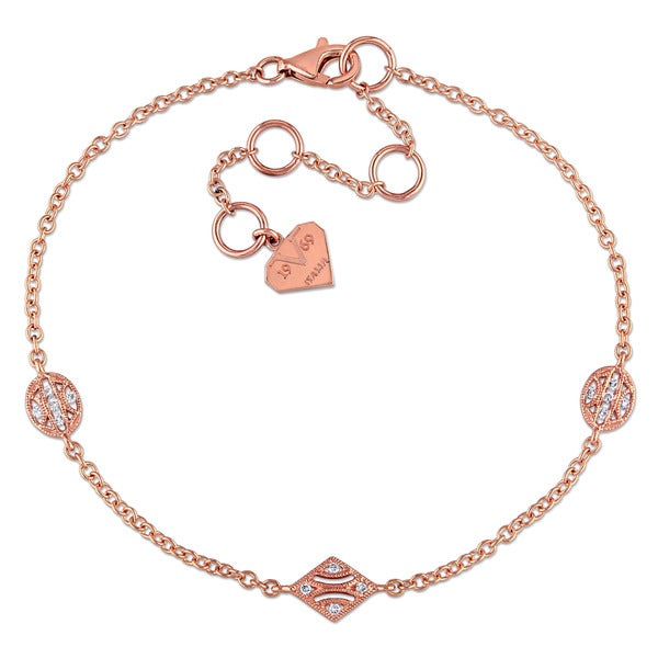 Miadora 14k Rose Gold Diamond Accent Charm Station Bracelet
