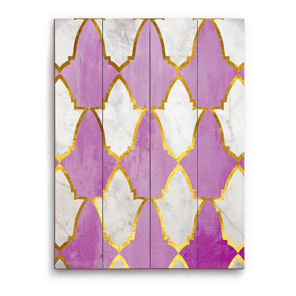 'Lavender and Marble Tiles' Wall Graphic on Wood