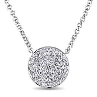 Miadora Sterling Silver White Sapphire Circle Cluster Necklace