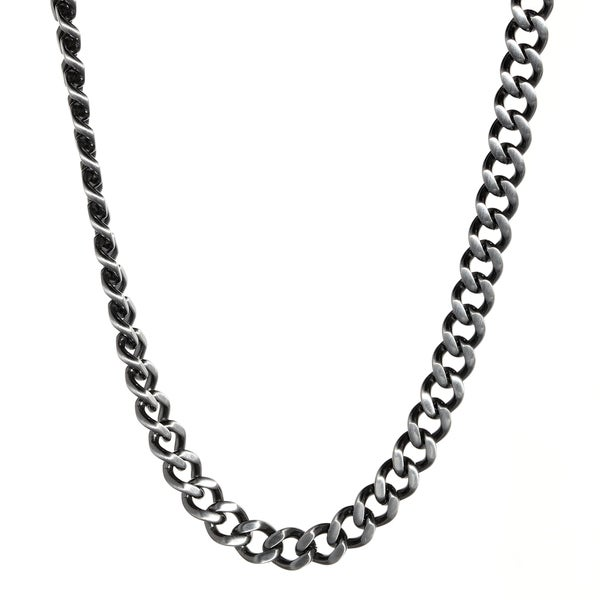 Antique Finished Stainless Steel Curb Chain Necklace