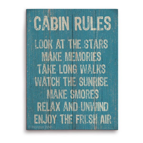 'Cabin Rules' Wall Graphic on Wood
